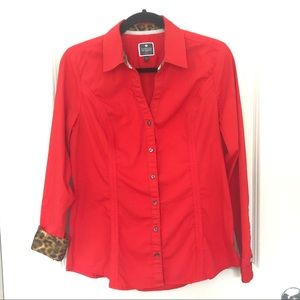 Express Tops - Express red women shirt animal print end.